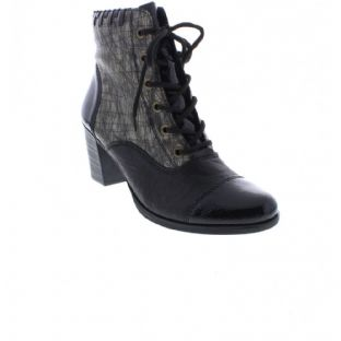Rieker Y8938-00 Ladies Grey Combination Zip Up Ankle Boots